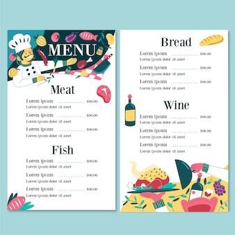 Modelo ilustrado de menu de restaurante
