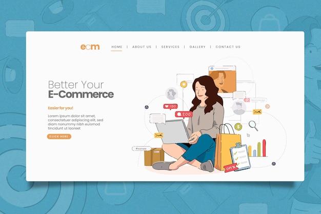 Modelo ilustrado de página da web de marketing online