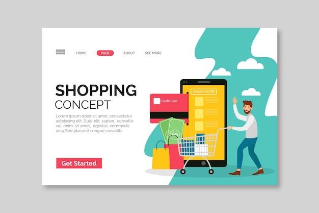 Modelo ilustrado de página de destino de compras on-line