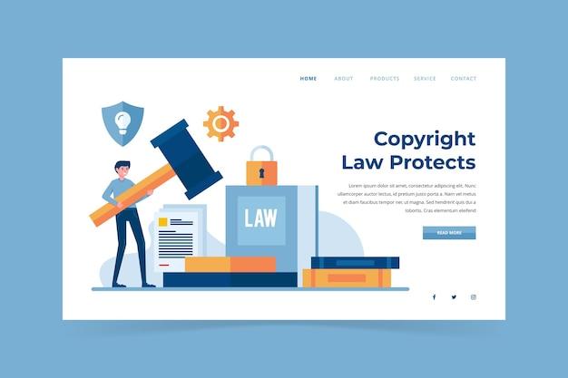 Modelo ilustrado de página de destino de direitos autorais