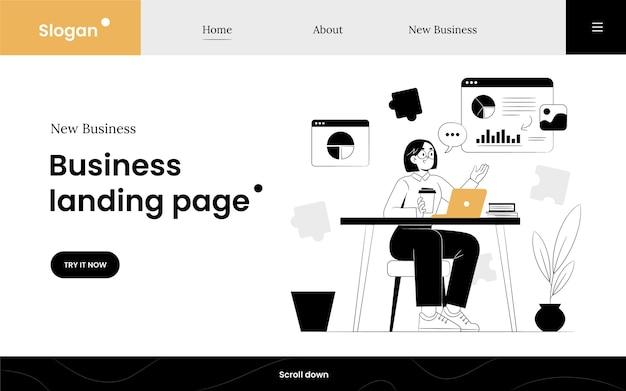 Modelo ilustrado de página de destino de negócios desenhado à mão