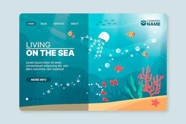 Modelo ilustrado de pôster de aventura subaquática