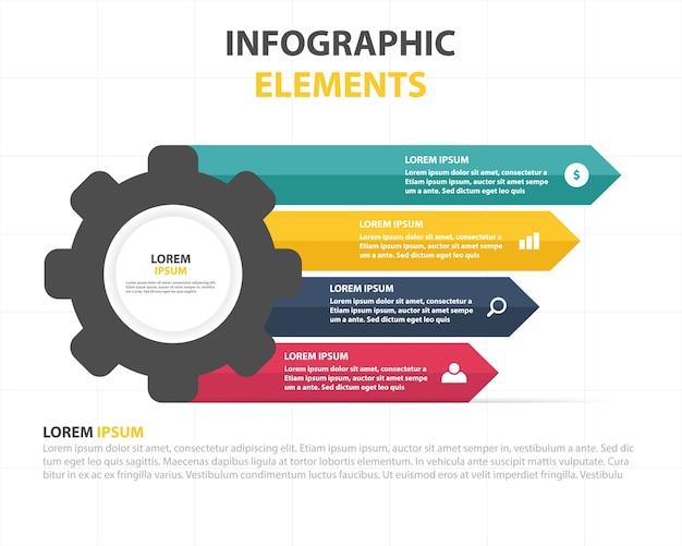 Modelo infográfico colorido do negócio com engrenagem