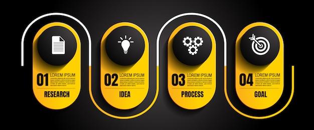 Modelo infográfico com 4 etapas