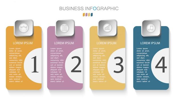 Modelo infográfico com quatro etapas ou opções