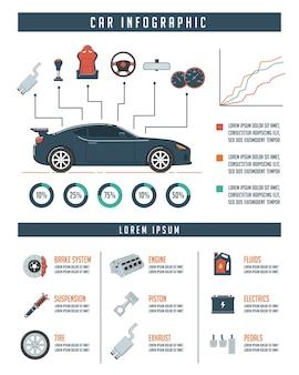 Modelo infográfico de carro com peças de automóveis. conceito de serviço e reparação automática