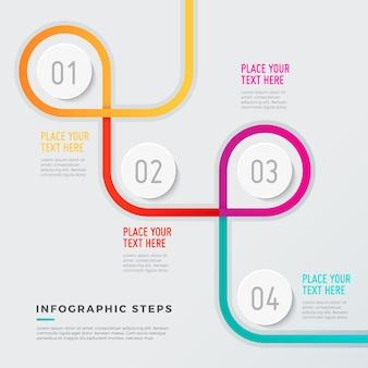 Modelo infográfico moderno com design geométrico
