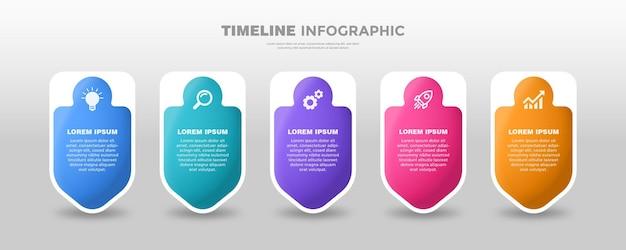 Modelo infpgraphic de linha do tempo mais forte colorido Vetor Premium