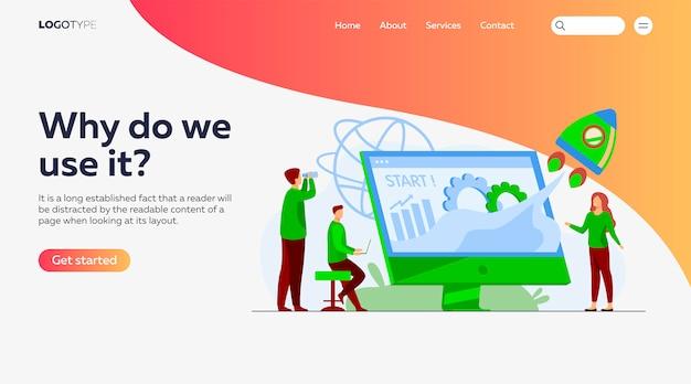 Modelo inicial da página de destino do projeto em equipe