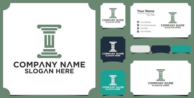 Modelo inicial do símbolo do logotipo do escritório de advocacia w e cartão de visita