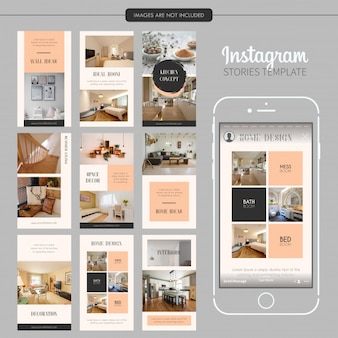 Modelo interior de histórias do instagram