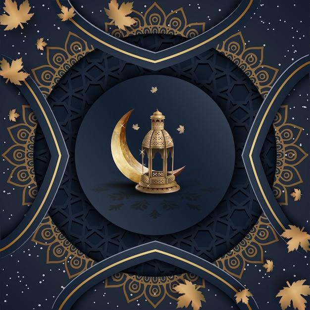 Modelo islâmico com lanternas de ouro e crescente