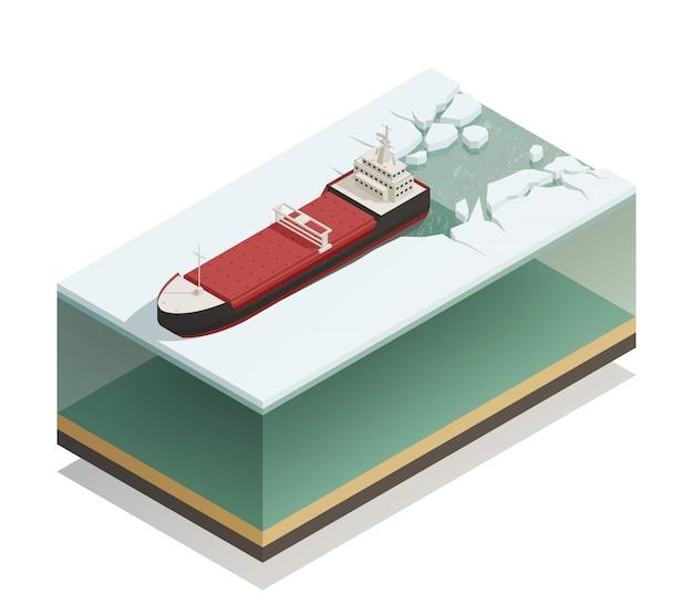 Modelo isométrico à tona de navio quebra-gelo