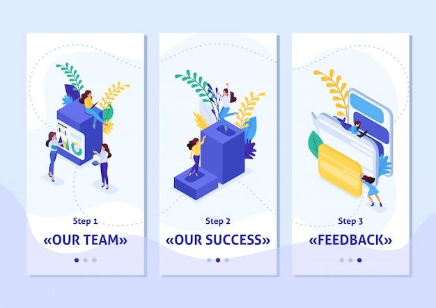 Modelo isométrico app conceito carreira escada para as mulheres, sucesso nos grandes negócios. mulher de negócios bem-sucedida, aplicativos de smartphone. fácil de editar e personalizar