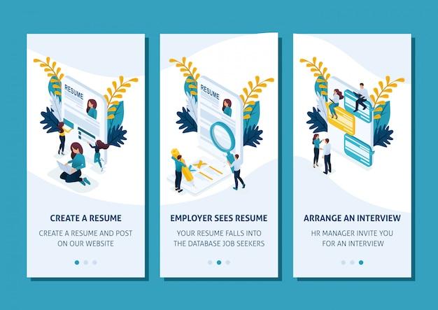 Modelo isométrico app design conceito estágios de procura de emprego através de aplicativos de smartphone. fácil de editar e personalizar