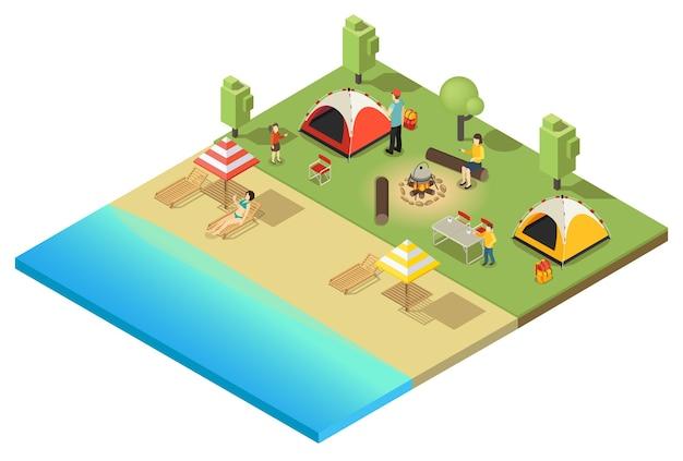 Modelo isométrico de acampamento e caminhada