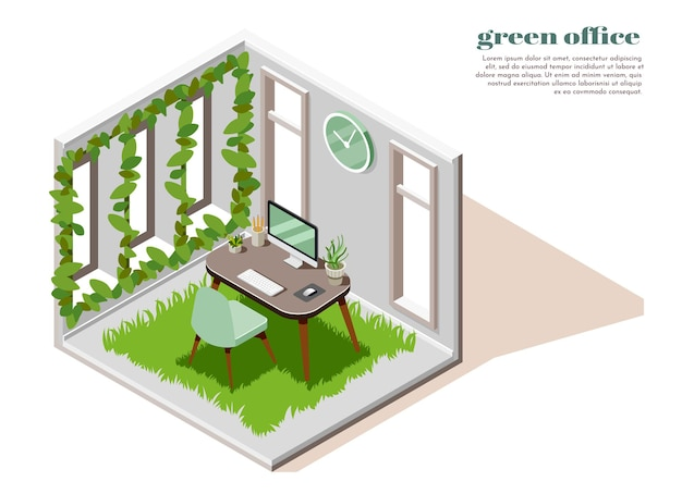 Modelo isométrico de cartão de escritório verde