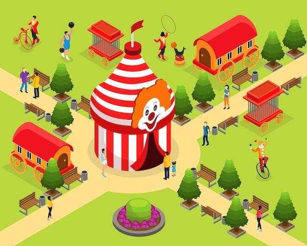 Modelo isométrico de circo de carnaval com treinador de homem forte em tenda fazendo malabarismo com palhaços visitantes gaiolas de animais