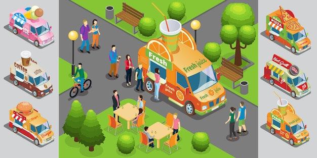 Modelo isométrico de comida de rua