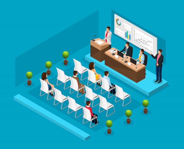 Modelo isométrico de conferência de negócios