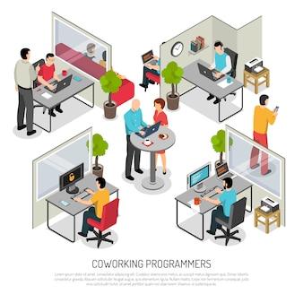 Modelo isométrico de espaço de coworking de programadores