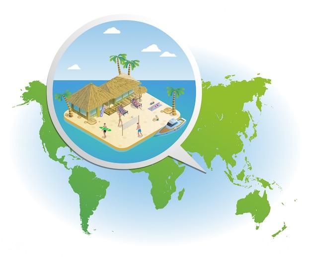Modelo isométrico de férias de verão