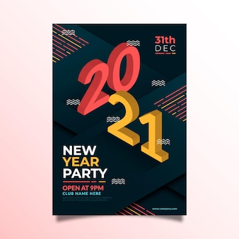 Modelo isométrico de folheto de festa de ano novo 2021