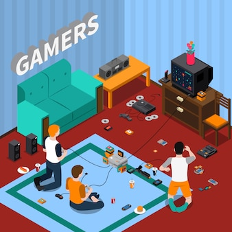 Modelo isométrico de gadgets de jogos