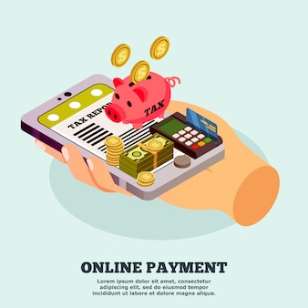 Modelo isométrico de pagamento on-line
