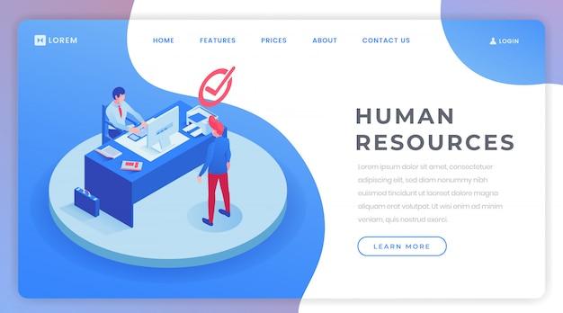 Modelo isométrico de página de aterragem de recursos humanos