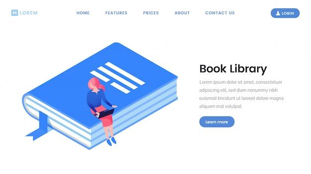 Modelo isométrico de página de destino da biblioteca de livros