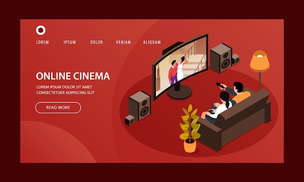 Modelo isométrico de página inicial de cinema em casa