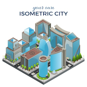 Modelo isométrico de paisagem urbana moderna