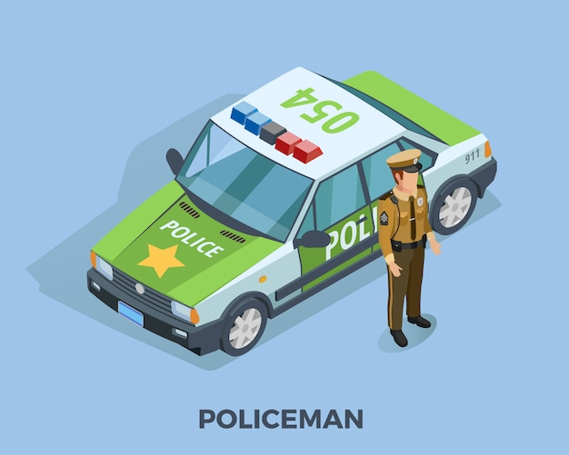 Modelo isométrico de profissão de polícia