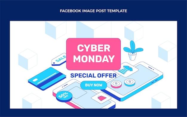 Modelo isométrico de promoção de mídia social cibernética segunda-feira