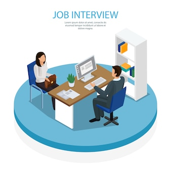 Modelo isométrico de recrutamento de emprego