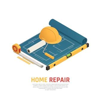 Modelo isométrico de renovação em casa