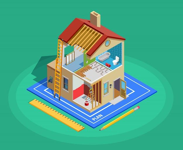 Modelo isométrico de reparo em casa