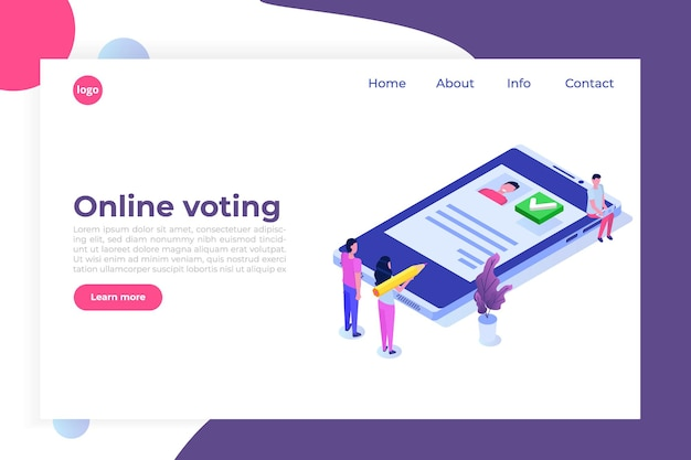 Modelo isométrico de sistema de internet de votação online, e-votação.