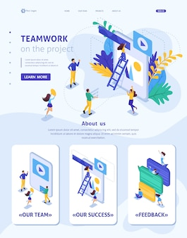 Modelo isométrico de site fluxo de trabalho da página de destino e trabalho em equipe de uma grande equipe em um projeto.