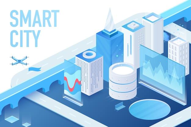 Modelo isométrico de uma cidade inteligente moderna com data centers, servidores e ilustração de construção de matriz blockchain