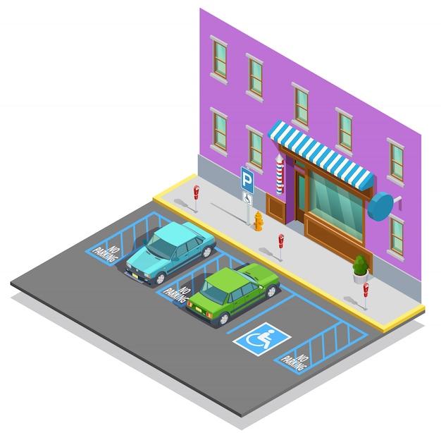 Modelo isométrico de zona de estacionamento
