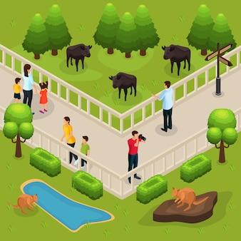Modelo isométrico de zoológico com pessoas observando e fotografando búfalos e cangurus