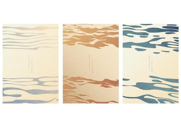 Modelo japonês com fundo abstrato. padrão de linha no padrão de estilo asiático. mar da china nas artes orientais. textura de luxo natural.
