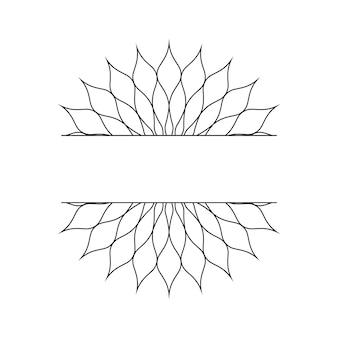 Modelo linear abstrato na forma de um floco de neve ou uma flor para o design de cartões, convites. ilustração vetorial.