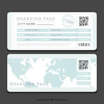 Modelo listrado cartão de embarque com mapa de mundo azul