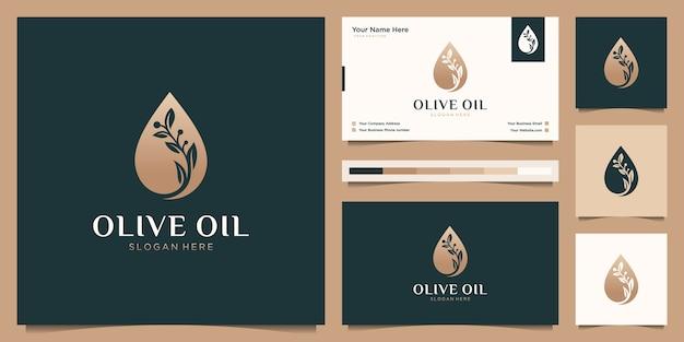 Modelo luxuoso de árvore de ramo de flor de azeite, logotipo feminino de gota de óleo e cartão de visita