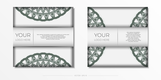 Modelo luxuoso para imprimir cartões postais de design na cor branca com padrões gregos escuros.