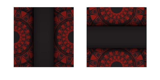 Modelo luxuoso para imprimir cartões postais de design na cor preta com padrões gregos vermelhos. preparação de vetor de cartão de convite com lugar para o seu texto e ornamento abstrato.