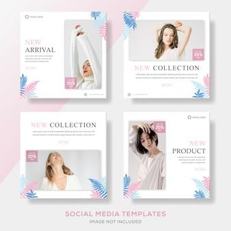 Modelo minimalista de banners de mídia social com plantas coloridas